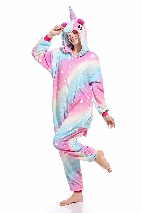 Unicornio Pijamas Cosplay Unicorn Disfraces Animales Franela Monos Unisex