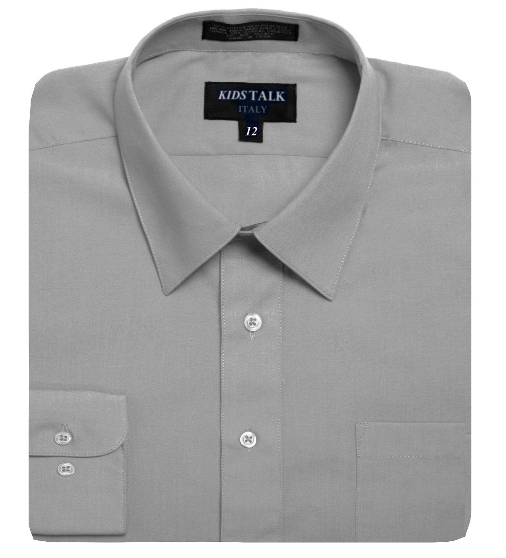 Kids Boys Solid Color long sleev Dress Shirts-Light Gray-4