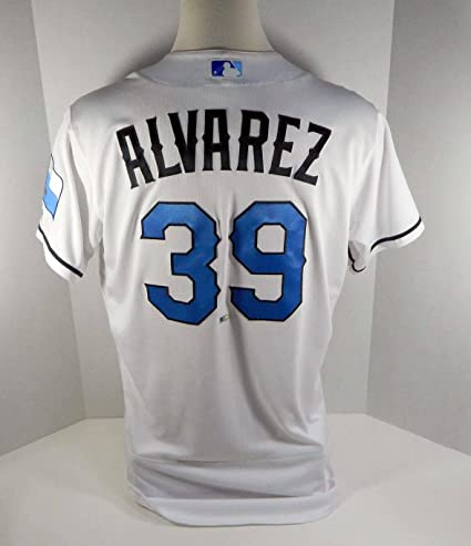 1c71e26f6f2 Image Unavailable. Image not available for. Color  2017 Texas Rangers Dario  Alvarez  39 Game Used White Father s Day Jersey ...