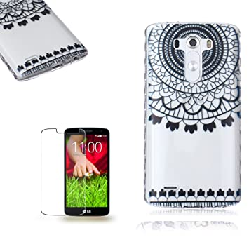 LG G3 Funda [Regalos gratis protector de pantalla],Funyye goma gel de silicona suave transparente ultra fina de TPU Hermosa (Negro del carillón de ...