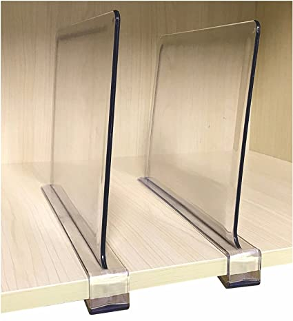 2 Pcs Multifunction Acrylic Shelf Dividers,Closets Shelf And Closet Separator For Wood Closet,Only Need To Slide To Adjust The Appropriate Distance by Cq Acrylic