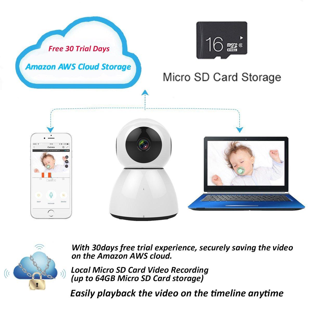 Home Security Camera, Wireless Wifi 1080P Surveillance Camera, Baby  Monitor, Optional Cloud Storage, Dome Cam, Pet Camera/ Monitor,  Motion/Sound