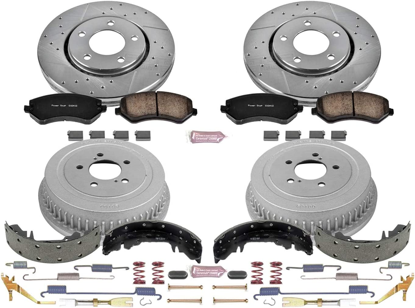 Front and Rear Rotor Drum and Shoe Kit Power Stop K15062DK Performance Pad