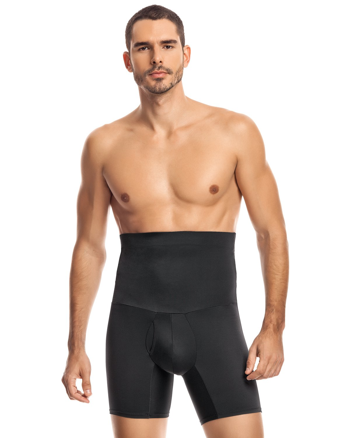 Leo Men's High Waist Slimming Tummy Abs Shaper with Boxer Brief,Black,Large