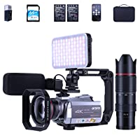 ORDRO Camcorder 4k Video Camera HDR-AZ50 4K 30fps Vlog Camera IR Night Vision Video Recorder 3.1'' IPS WiFi Camcorder with Mic LED Light Wide-Angle Lens Telescope and Case 64G SD Card 2 Batteries