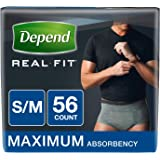 Depend Real Fit Incontinence Briefs for Men, Maximum Absorbency, Grey, Small/Medium (Pack of 56)