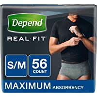 Depend Real Fit for Men Incontinence Briefs, Maximum Absorbency, Economy Plus Pack, Small/Medium, 56 Count