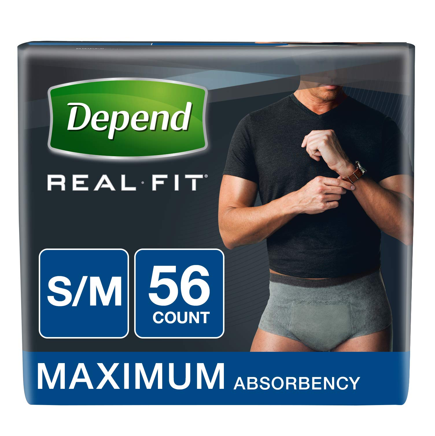 3b5c26a71850 Depend Real Fit Incontinence Briefs for Men, Maximum Absorbency, S/M, Grey