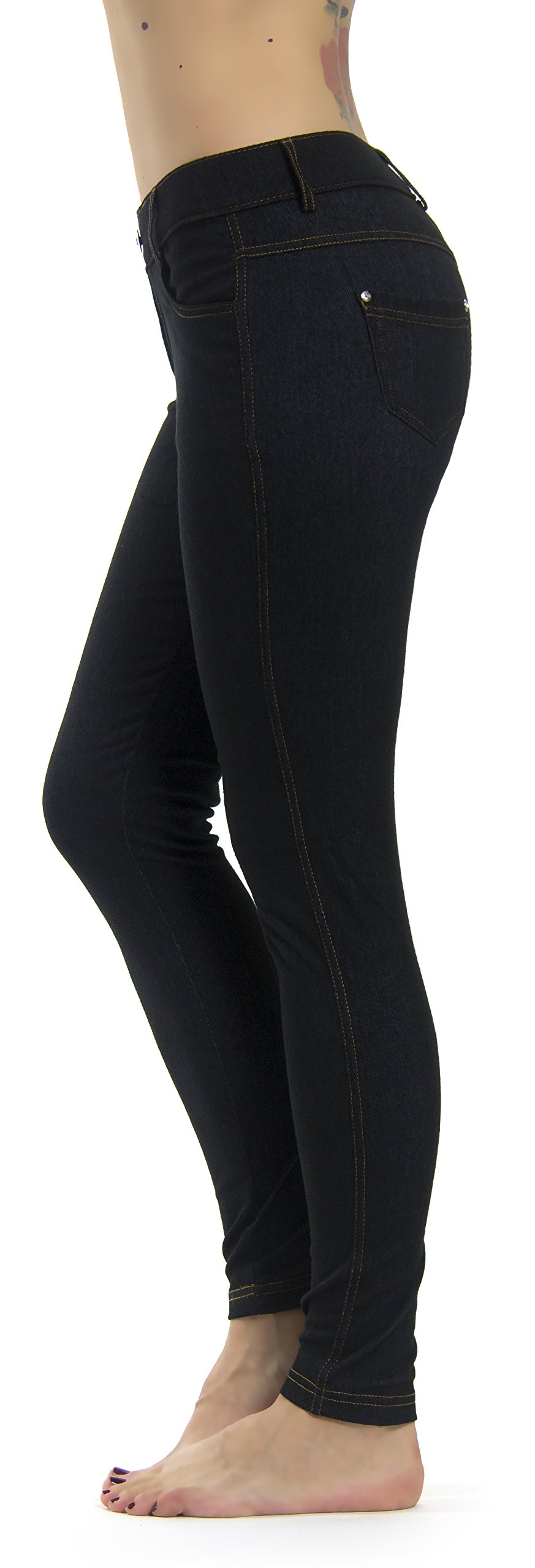 Prolific Health Women's Jean Look Jeggings Tights Slimming Many Colors Spandex Leggings Pants S-XXXL (Large/X-Large, Black Denim) by Prolific Health (Image #1)