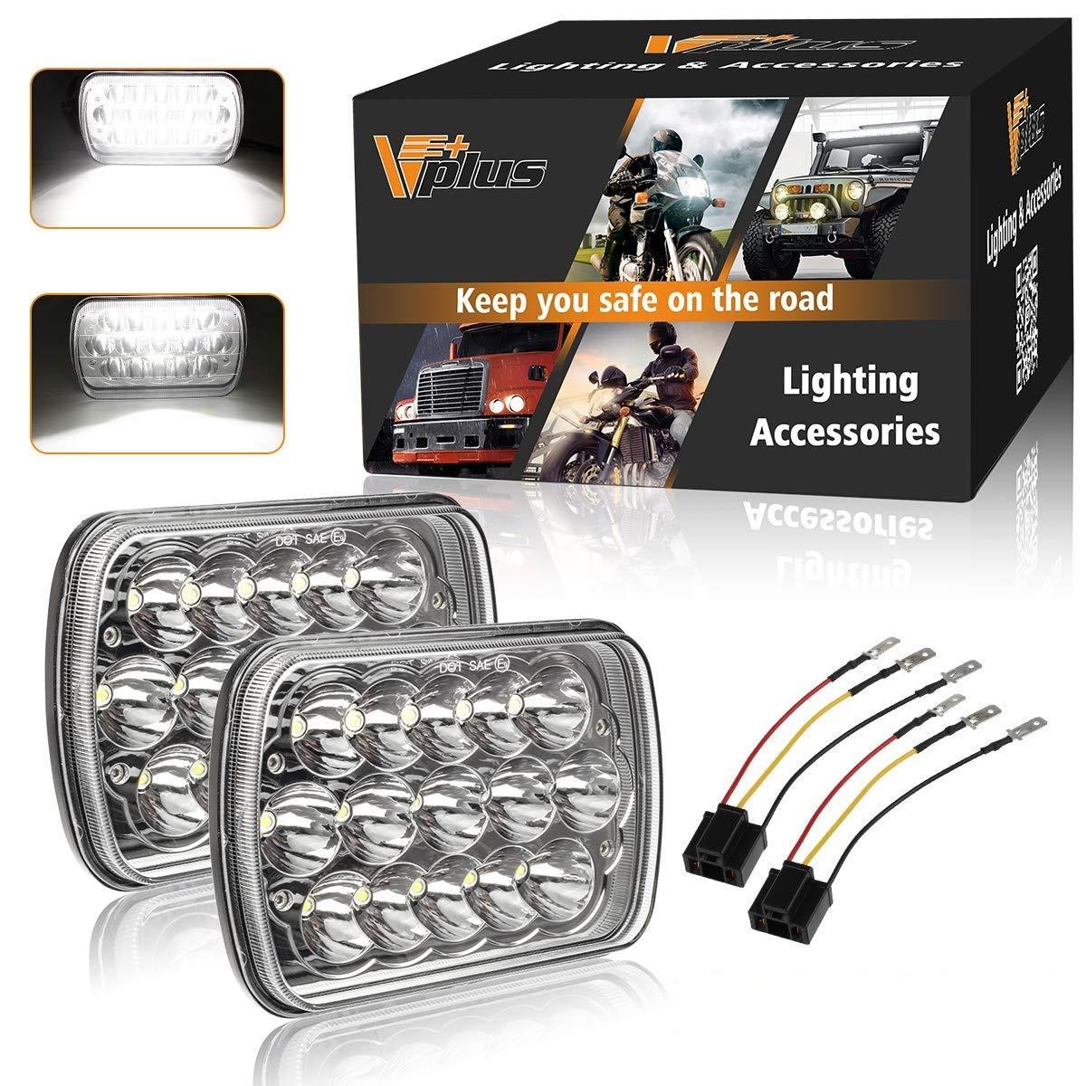 Partsam H6054 7x6 5x7 LED Headlights Sealed Beam Hi/Low w/ H4 Wiring on