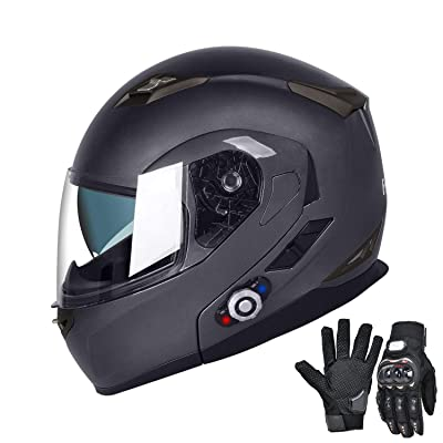 FreedConn Bluetooth Motorcycle Helmets Speakers Integrated Modular Flip up Dual Visors Full Face Built-in Bluetooth Mp3 Intercom Headset Communication Range 500M (L,Gray): Sports & Outdoors