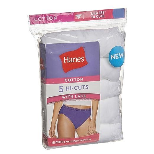 428b4da1434 5 Pack Hanes White Hi-Cut Briefs Lace Cotton Panties Set For Women Tagless  No