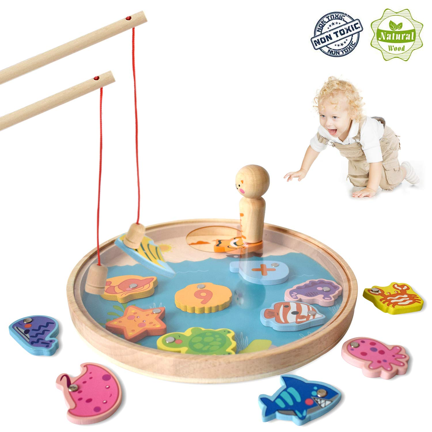 Akamino Wooden Magnetic Fun Fishing Game Toy for Kids with 14 Number Ocean Sea Animals Magnets and 2 Fishing Pole Basic Skills Development Toys for 2 3 Year Old Girl Boy Birthday Party Festival