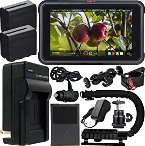 """Atomos Ninja V 5"""" 4K HDMI Recording Monitor with Power Bundle & Accessory Kit – Includes: 2x Extended Life NP-F975 Batteries with Charger, Action Grip Stabilizer, Rotating Monitor Mount & MORE"""