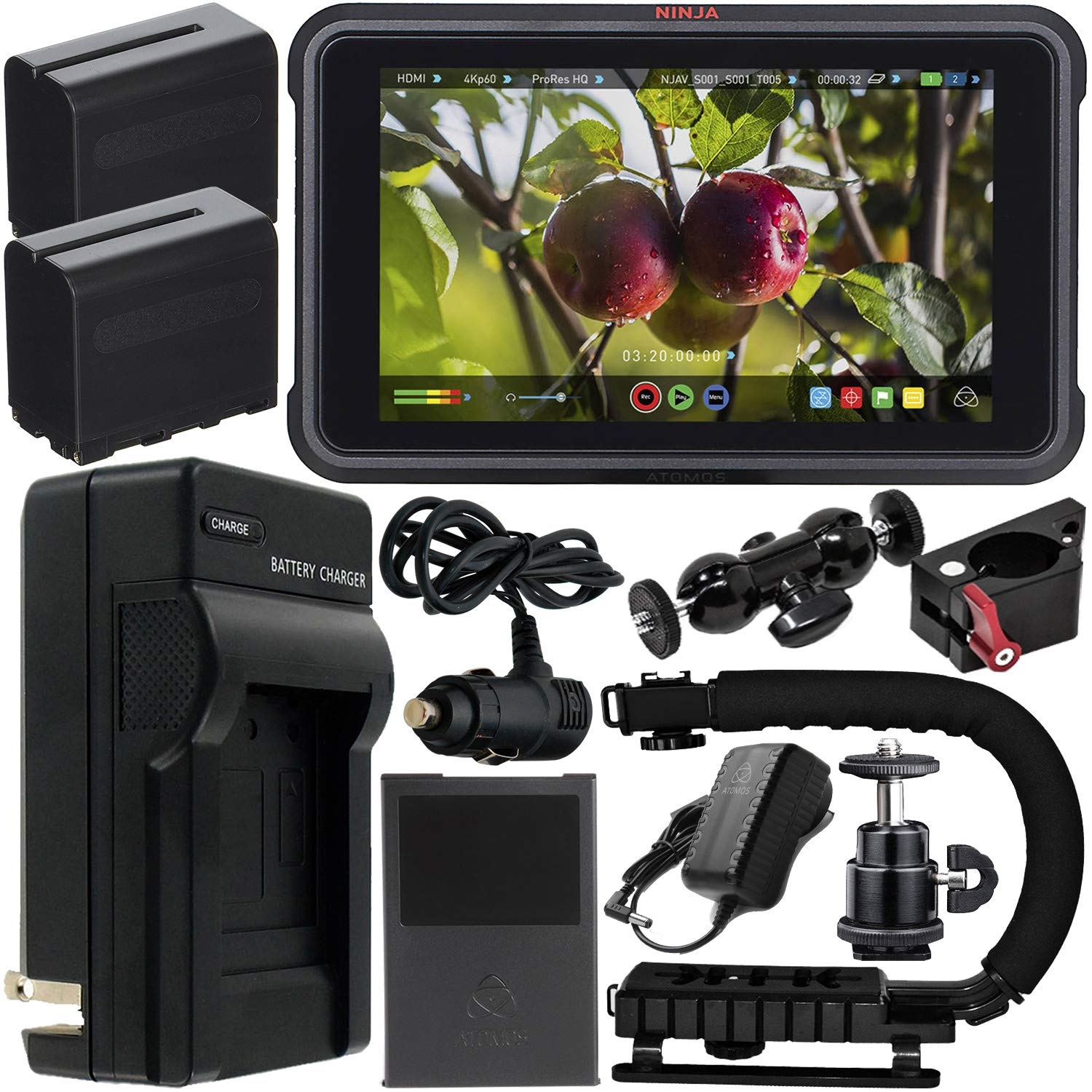 Atomos Ninja V 5'' 4K HDMI Recording Monitor with Power Bundle & Accessory Kit - Includes: 2x Extended Life NP-F975 Batteries with Charger, Action Grip Stabilizer, Rotating Monitor Mount & MORE by Atomos
