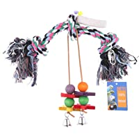 Abestbox Bird Toys, Knots Block Chewing Parrot Toy, Bird Climbing Hanging Toy, Macaw Chewing Toys with Bells