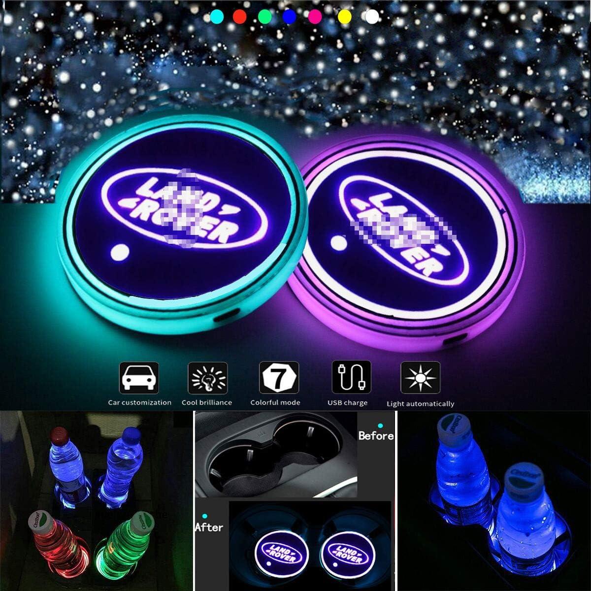VILLSION Porte-gobelet LED Voiture 7 Couleurs /étanche IP67 Porte-gobelet de Chargement USB Porte-Boisson LED Lumi/ère int/érieure de Voiture Ambiance Lampe Choisissez Le nom de Votre Voiture