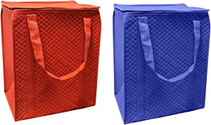 Earthwise Insulated Reusable Grocery Shopping Bag Heavy Duty with Waterproof Leak proof Lining and Zipper Top Closure Tote Large Collapsible Foldable Stand Upright Keep Food Hot or Cold (Pack of 2)