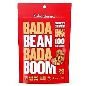Bada Bean Bada Boom - Plant-Based Protein, Gluten Free, Vegan, Crunchy Roasted Broad (Fava) Bean Snacks, 100 Calories per Serving, Sweet Sriracha, 4.5 Ounce (12 Count)