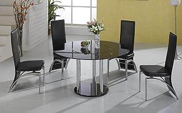 Esstisch schwarz glas  HGG, schwarz Glas Esstisch und Stühle, runder Glas-Esstisch aus Glas ...