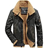 EUROUS Men's Casual Long Leather Jacket, Warm and Velvet Inside, Windproof Waterproof Jacket
