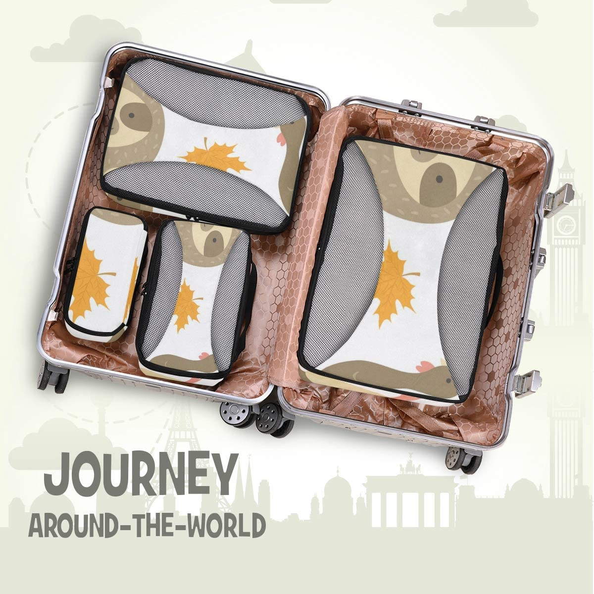 4 Set Packing Cubes Travel Luggage Packing Organizers Thanksgiving With Cute Sloth And Turkey