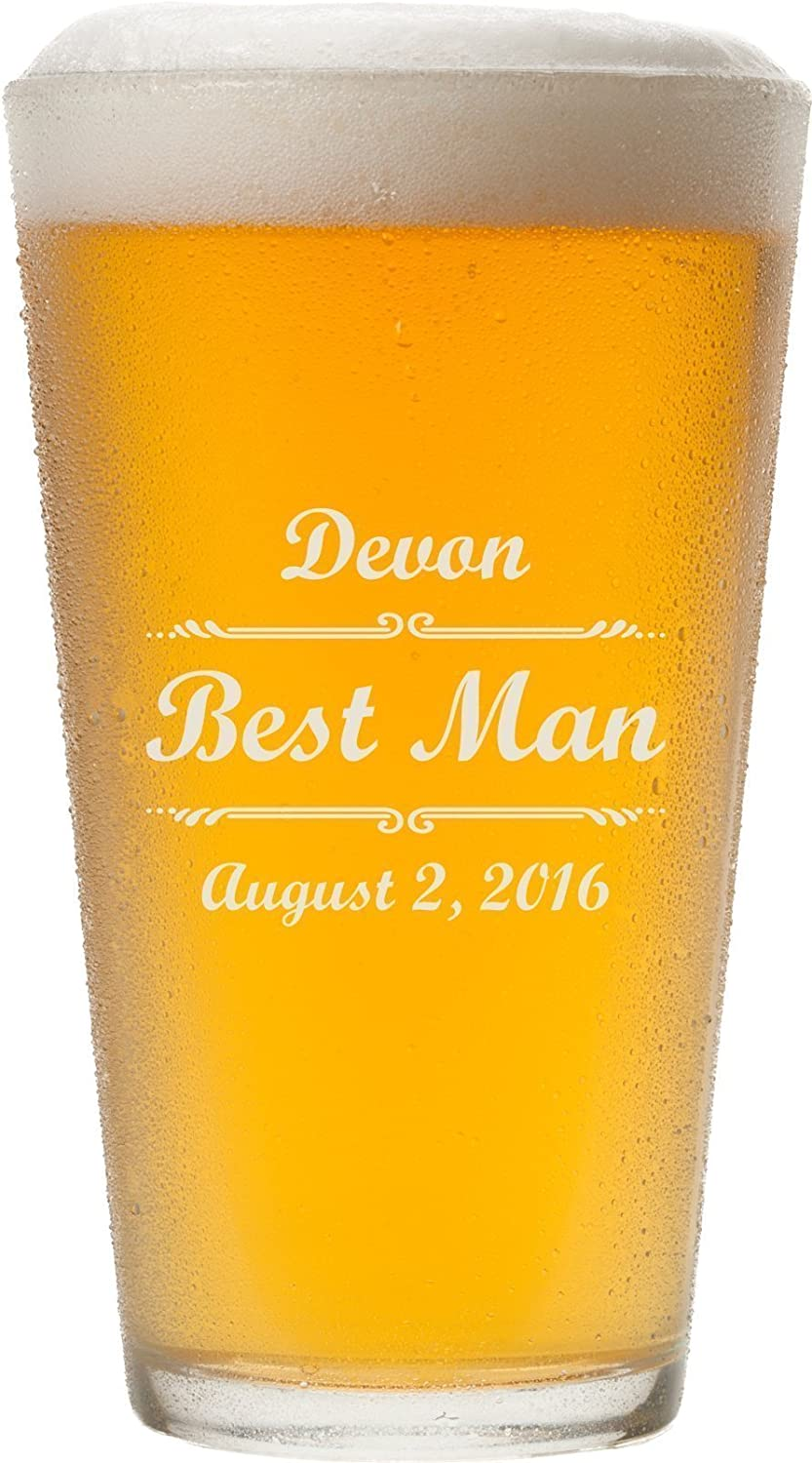 Personalized Pint Glasses,16 oz - Father's Day Gift, Anniversary Gift, Beer Lover's Gift for Him - PG02 16 oz - Father's Day Gift