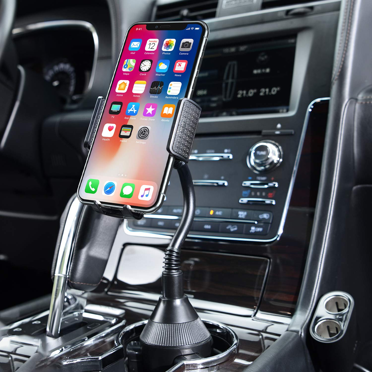Amoner Car Cup Holder Phone Mount,Universal Cell Phone Holder Mount Cradle Compatible with iPhone Xs/Max/X/XR/ 8/8 Plus, Samsung Note 9/ S10+/ S9/ S9+/ S8 and Other 3.5-6.5 inch Smartphones by Amoner