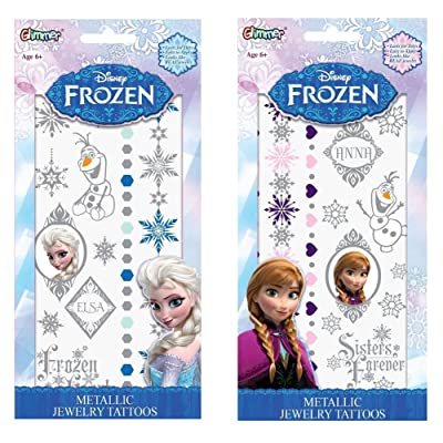 Disney Frozen Elsa and Anna Metallic Jewelry Temporary Tattoo Kits, Set of 2: Beauty