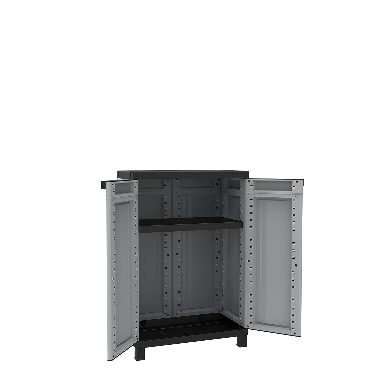Terry Store Age TERRY Armadio in resina per esterno tuttopiani due ante 68x39x102 cm grigio nero