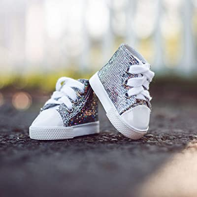 The Queen's Treasures 18 in Doll Shoes Silver High Top Sneaker, Clothing Accessory for American Girl: Toys & Games