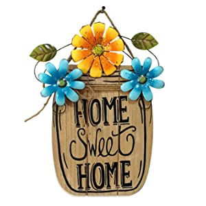 D-Fokes Flower Welcome Sign Decorative Vintage Wooden Wall Hanging Home Garden Decor - Craft Hanging Sign Home Sweet Home Wall Door Ornaments with String