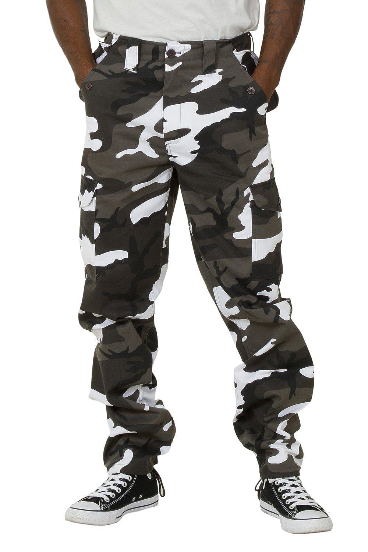 734e43afa54f Rockford Pantalon Combat Homme - Camouflage Noir Blanc Pantalon Cargo poches  multiples PEVCOMBATBLACK
