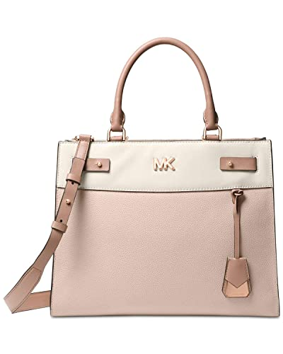 7278f94852b7a1 Amazon.com: MICHAEL Michael Kors Reagan Large Leather Satchel Bag, Soft  Pink Light Cream Fawn: Shoes