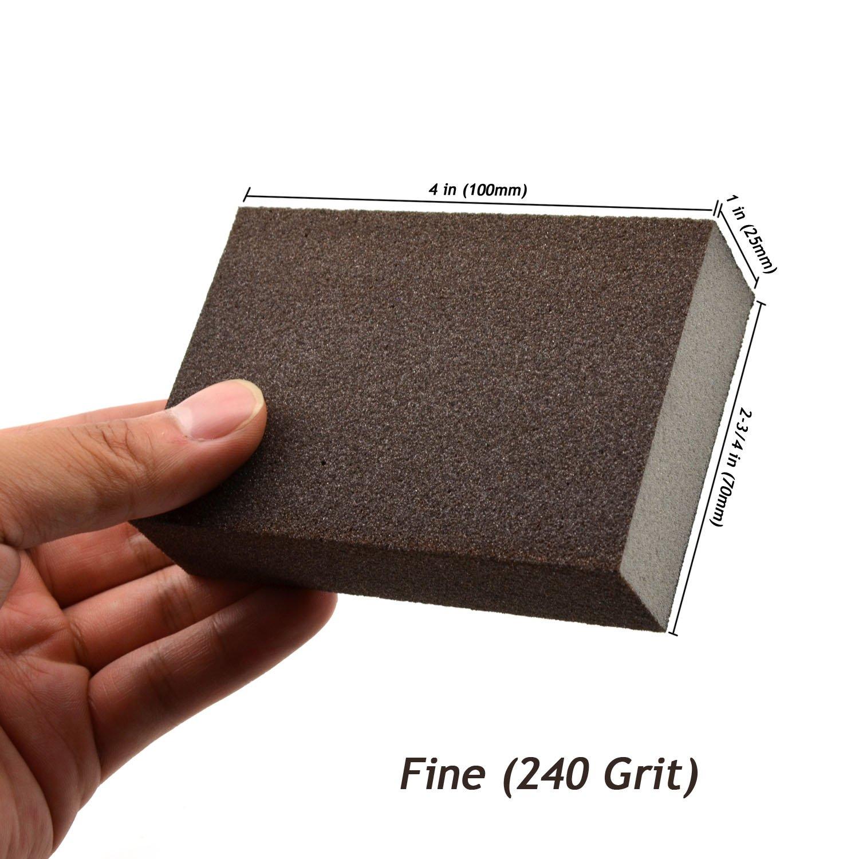 80 Grit Coarse Manual Sanding Sponge Sheet Kitchen Bathroom Polishing Grinding Abrasive Sponge Block 4-Inch 4-Pack