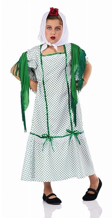 Disfraz de Chulapa Madrileña Verde para niña: Amazon.es ...