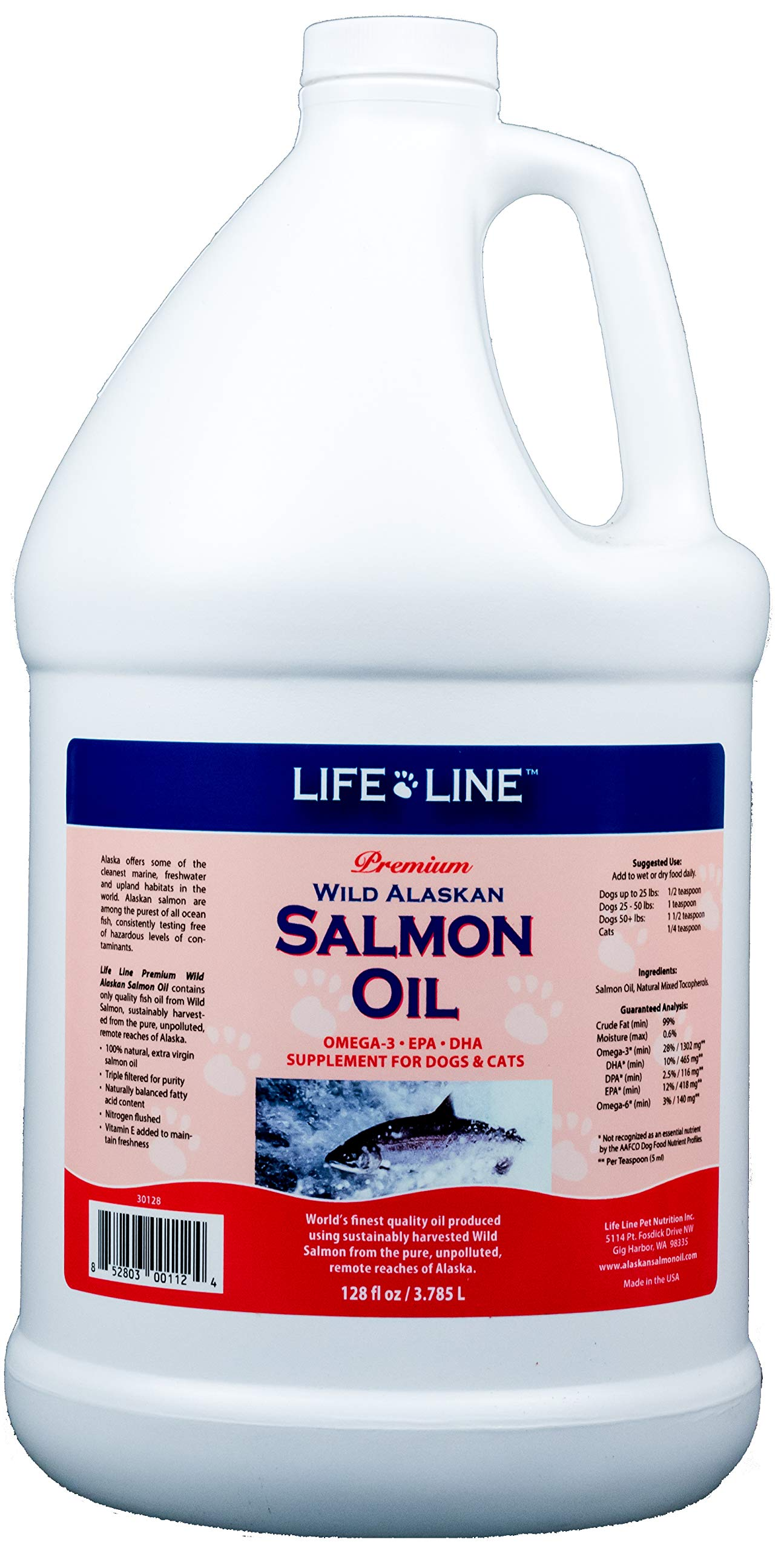 Life Line Pet Nutrition Wild Alaskan Salmon Oil Omega-3 Supplement for Skin & Coat - Supports Brain, Eye & Heart Health in Dogs & Cats by Life Line Pet Nutrition