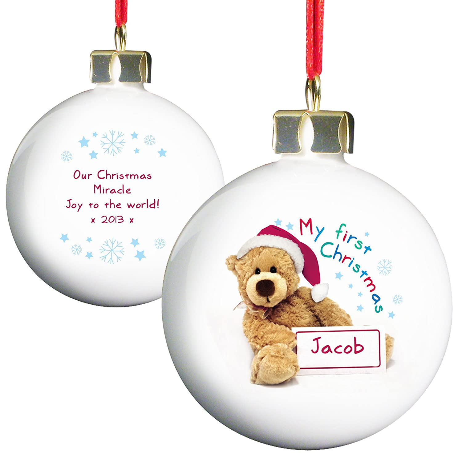 Personalised Teddy My First Christmas Bauble: Amazon.co.uk: Kitchen ...