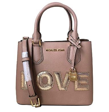 7f3430e90ce5 Amazon.com  Michael Kors Adele MD Leather Messenger Crossbody Bag (Love  Fawn)  Shoes