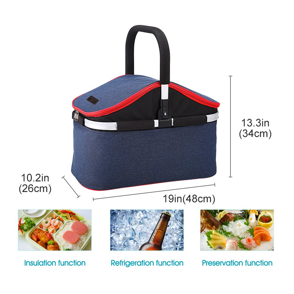 Collapsible Soft Cooler Bag 30L Family Size Insulated Folding Picnic Basket Service for 4 Person's Food and Drink Keep Hot/Cold/Fresh for Hours Waterproof Insulation Tote With Aluminum Handle-Blue