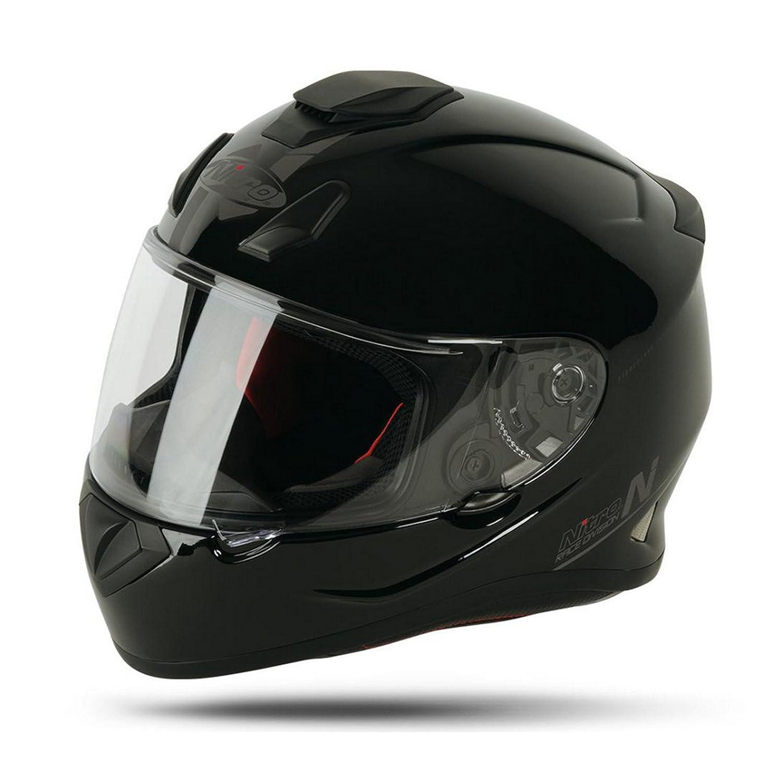 Nitro N3100 UNO Full Face Motorcycle Helmet Blackout Gloss BlackM