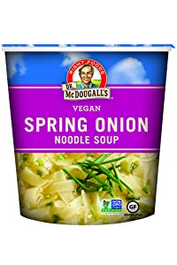Dr. McDougall's Right Foods Vegan Spring Onion Noodle Soup, 1.9 Ounce Cups (Pack of 6) Gluten-Free, Non-GMO, No Added Oil, Paper Cups From Certified Sustainably-Managed Forests