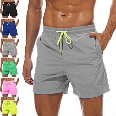 512dd23c7d25 YnimioAOX Men's Trunks Quick Dry Shorts Gym Athletic Bodybuilding with Pockets  Swimming Briefs (Grey,
