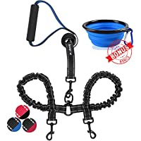 haapaw Two Dog Leash Coupler - 2 Dog Leash Tangle Free, Stretchable from 20 to 35 Inch – Comfortable Handle Dual Dog Leash for 2 Dogs with a Free Collapsible Dog Bowl