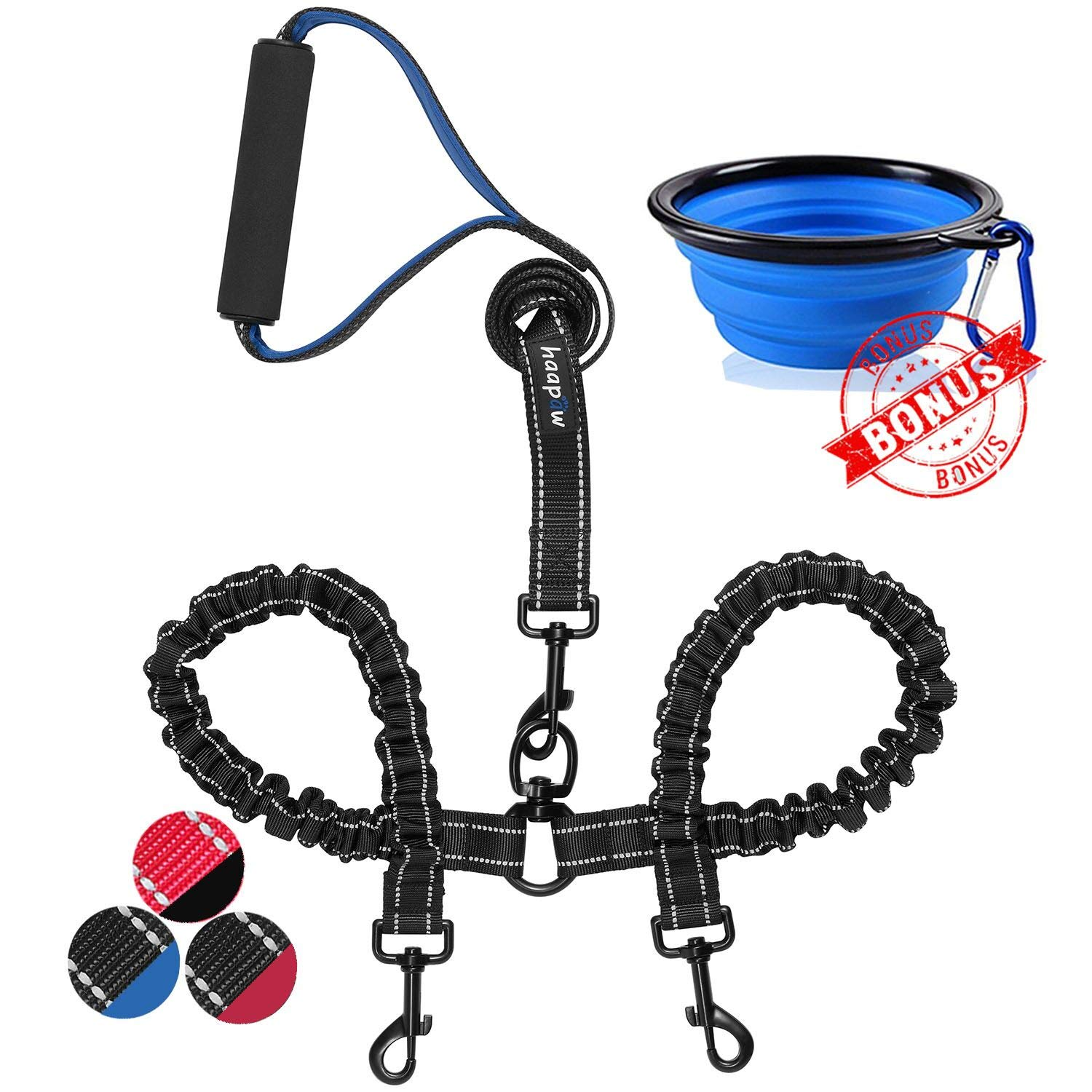 haapaw Two Dog Leash Coupler - 2 Dog Leash Tangle Free, Stretchable from 20 to 35 Inch - Comfortable Handle Dual Dog Leash for 2 Dogs with a Free Collapsible Dog Bowl (Black/Blue)