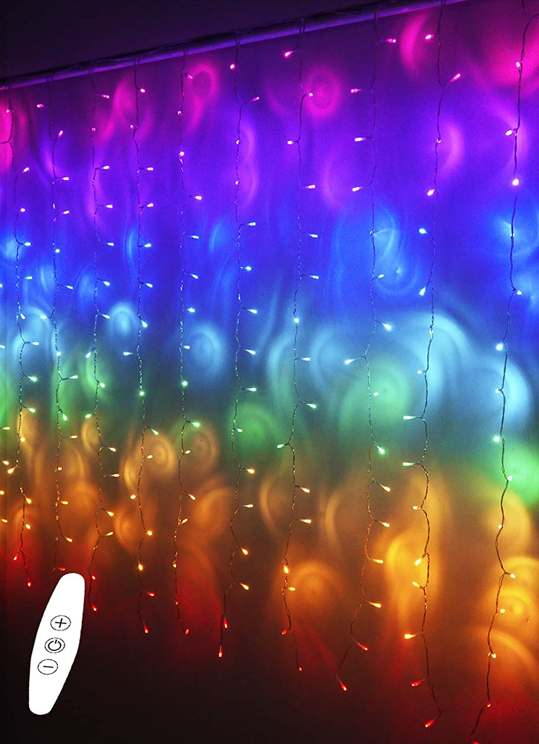LED Rainbow String Curtain Lights with Dimmer Switch, USB Rainbow Fairy Icicle lights for Girls Room, Teen Room, Bedroom Decor, Mermaid & Unicorn Room Décor, Birthday,Party, Christmas Décor,Wall Decor