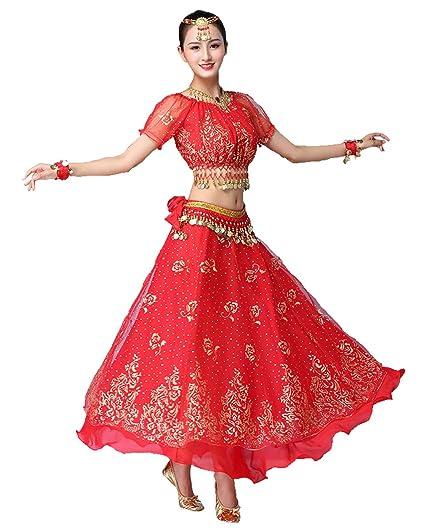 Grouptap Bollywood Rojo Indio Mujer señoras fantasía Anarkali ...
