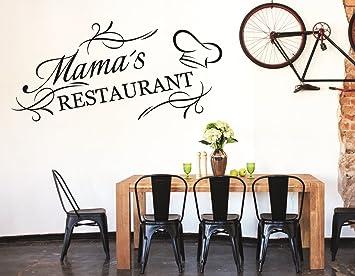 tjapalo® S-pkm86 Wandtattoo Küche Wandaufkleber kochen Esszimmer Spruch  Mama\'s Restaurant (B58 x H28 cm)
