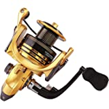 Thekuai Summer and centron Spinning Reels 13+1 BB Corrosion Resistant Bearings Smooth Powerful Fishing Reel Spinning 5.5:1 Gear Ratio Reels Left/Right Interchangeable