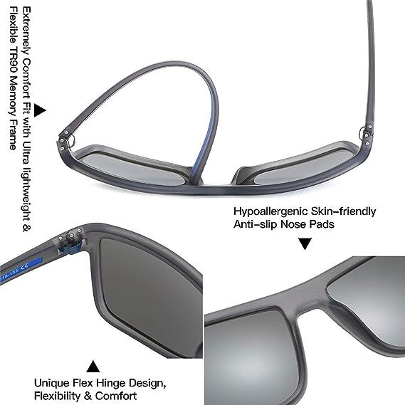 ZENOTTIC Gafas De Sol Polarizadas Para Hombre Gafas Cuadradas TR90 UV400 Gafas De Sol Deportivas